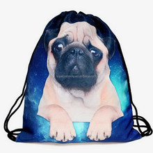 2016 colorful drawstring 3D digital cute dog print backpack