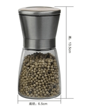 salt & pepper sea salt mills glass pepper grinder with stainless steel cap