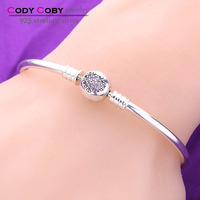 18cm Wholesale 925 Sterling Silver Charms Bracelets Bangles with Clip Heart Shaped pave Crystal for Sex Bangle DIY Jewelry