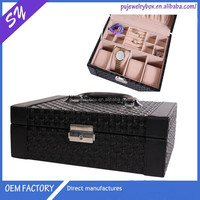 High quality 4 slots faux pu leather and velvet watch and jewelry box
