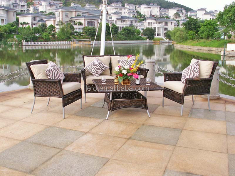 Dining pool table outdoor rattan furniture with cushion