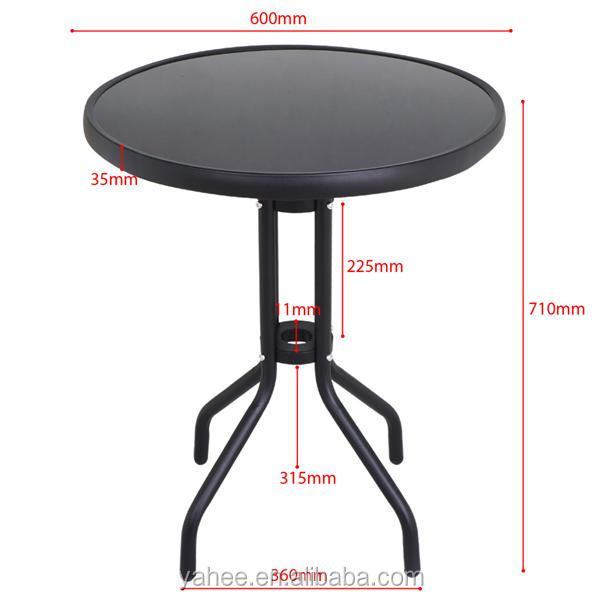 Metal Garden Table with Glass Top Coffee Dining Table House Patio Public