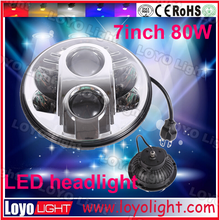 Great power 80 watts 7 inch round led headlight 12v 24v white halo with DRL lighting for jeep