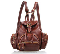 3102X-1 Red Brown Fashion Genuine Leather Girl Backpack Satchel Bag