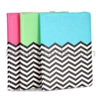 Wave Line Pattern 360 Rotating Elastic Belt Flip Stand PC+PU Leather Case for iPad Air 2
