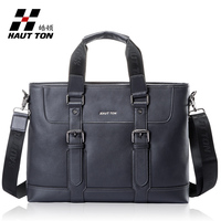 Hautton brand name cow leather laptop bag men fashion briefcase