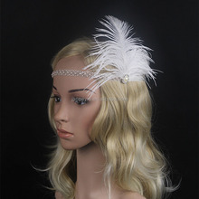 Wholesale Ivory Pearl Headpiece Vintage Feather Headband 1920s