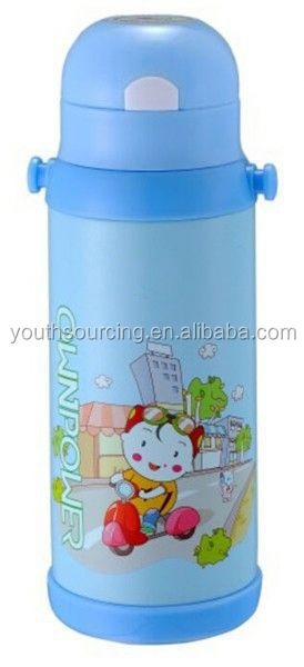 1.0L water bottle two cups plastic glass refill thermos vacuum flask China manufacturer