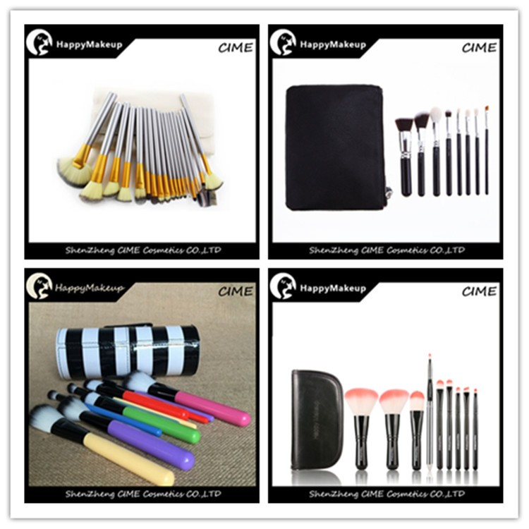Hot Sale 9 pcs Synthetic Cute Makeup Brush Set With Zipper Bag