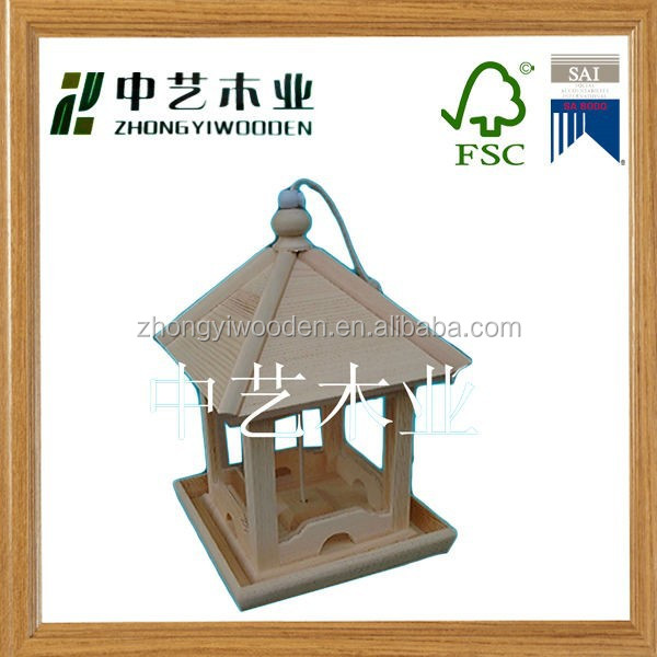 handmade Unfinished custom wooden bird house feeder cage for sale