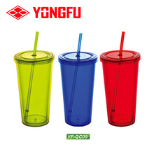 Hot sale double wall plastic cup plastic drinking cup plastic water cup with paper insert for promotion