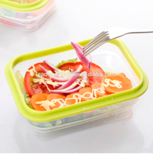 Folding collapsible square silicone lunch box