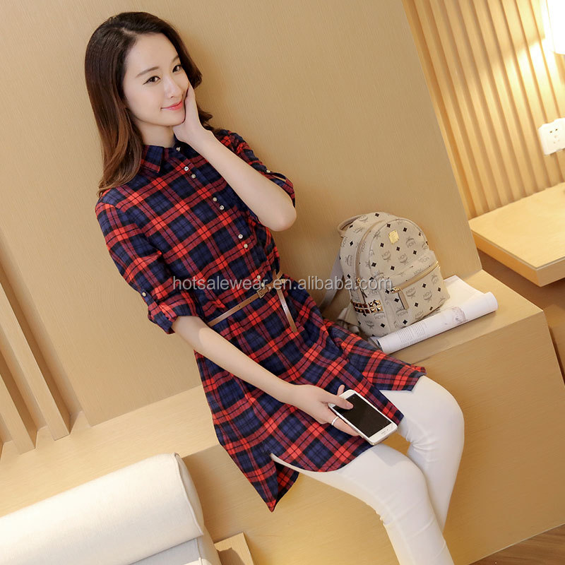 2016 plaid women shirt leisure long sleeve long styles shirts with belt dress