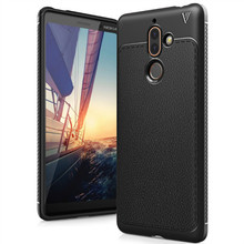 Shockproof lichee leather pattern mobile phone case for nokia 7 plus cover case