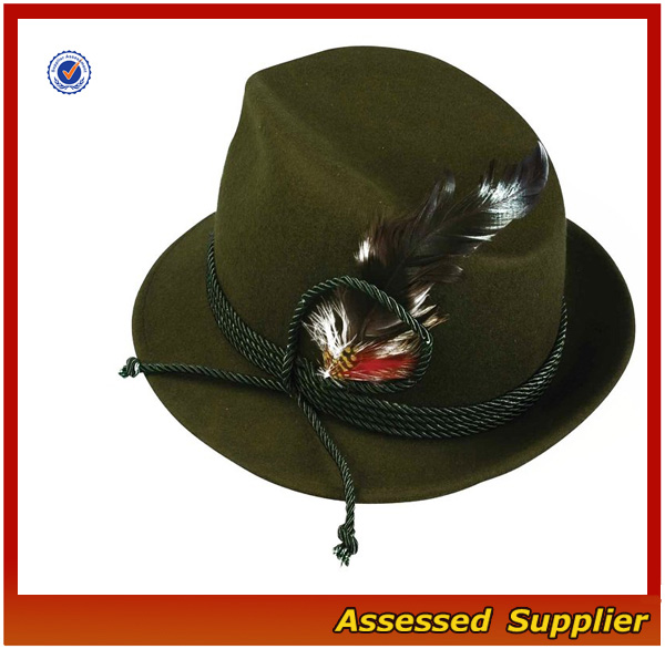 Wholesale High Quality Traditional Oktoberfest Wool Bavarian German Hat with Feather for Oktoberfest Festival
