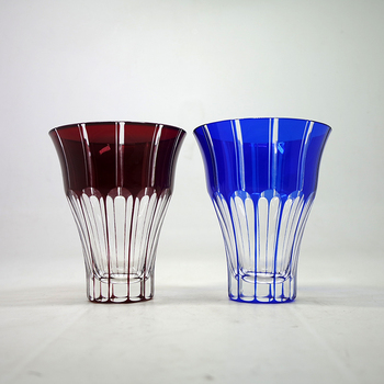 2018 Popular 300ml Wholesale Blue Red Colored Engraved Glass Tumbler Tea Cup