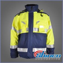 xinxiang EN11612 navy blue 100% cotton anti-fire &anti-oil reflective work jacket for mining