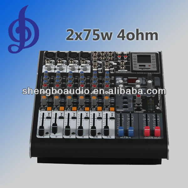 professional power amplifier mixer 8 channel 2x75w