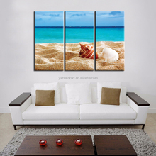 3 Pieces Digital Prints Stretched Canvas shell in the beach canvas Print Modern Wall Paintings free shipping canvas prints