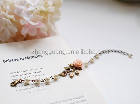 unique fashion flower pearl beaded chain barcelet