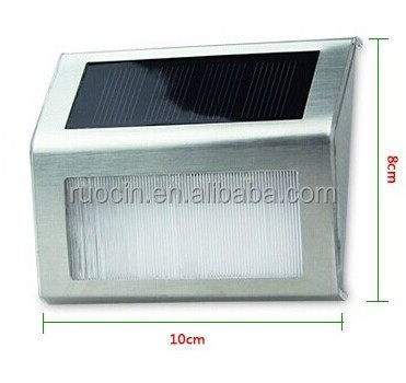 Stainless steel shell Garden Solar Light IP44 Outdoor Step Led Wall lamp