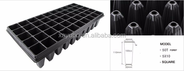 50 deep cell black plastic seed tray for growing forest, tree, sugarcane citrus
