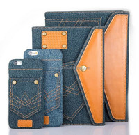 Wholesale price factory strong protect pocket jeans leather tablet cover for ipad