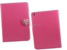 shiny glaze leather phone case with camellia for ipad 5,high quality phone case for ipad