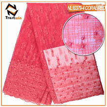 High quality african lace fabric beaded tulle fabric