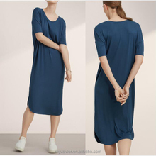 lady dress stretchy T-shirt dress made by drapes and soft jersey material for hot sale simple plain dress
