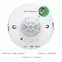 360 degree PIR infrared motion sensor switch ,Ceiling mount 3 detectors High sensitive occupancy pir infrared sensors (BS036B)