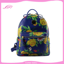 2015 new trendy popular printing pu girls fashion backpack leather