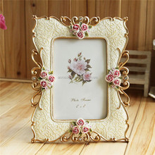 resin photo frame Fashion Retro Vintage Pink Rose Flower Home Decor Photo Frame Picture Resin with Rhinestone