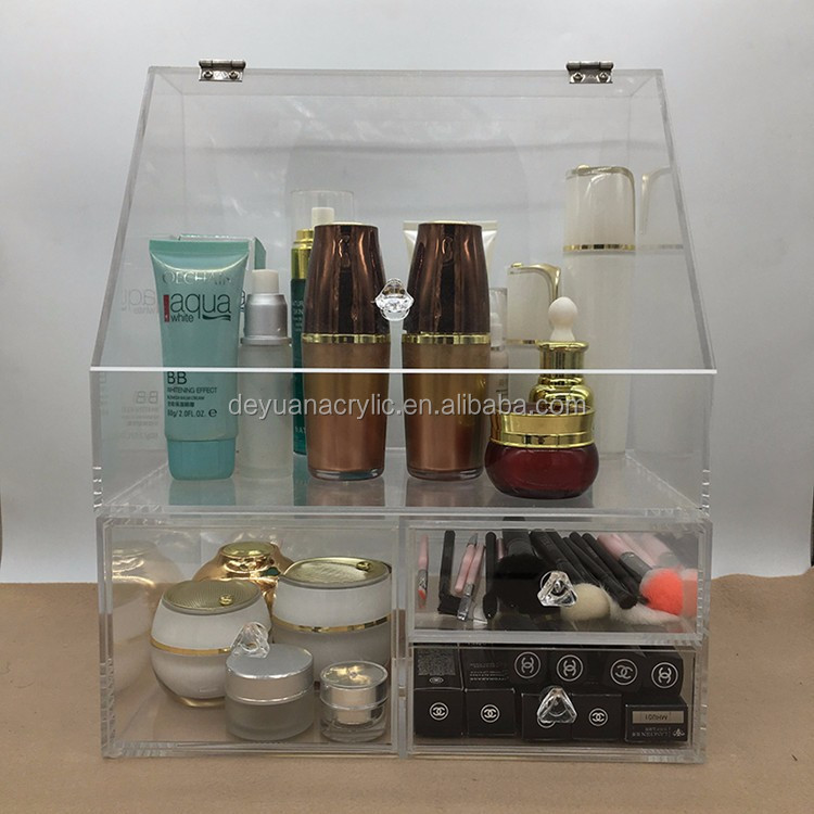 Large Plastic Organizer With Drawer / Acrylic Makup Organizer