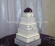 CS119 high quanlity round 5 layer crystal cake stand with crystal ball