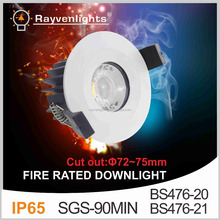 CRI>90 8W Fire-Rated IP65 LED Downlight With round Bezel with dimmable driver