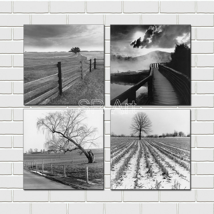 Home Art Contemporary Art Landscapes Giclee Canvas Prints Framed Canvas Wall Art For Home Decor Perfect 4 Panels Wall Decoration