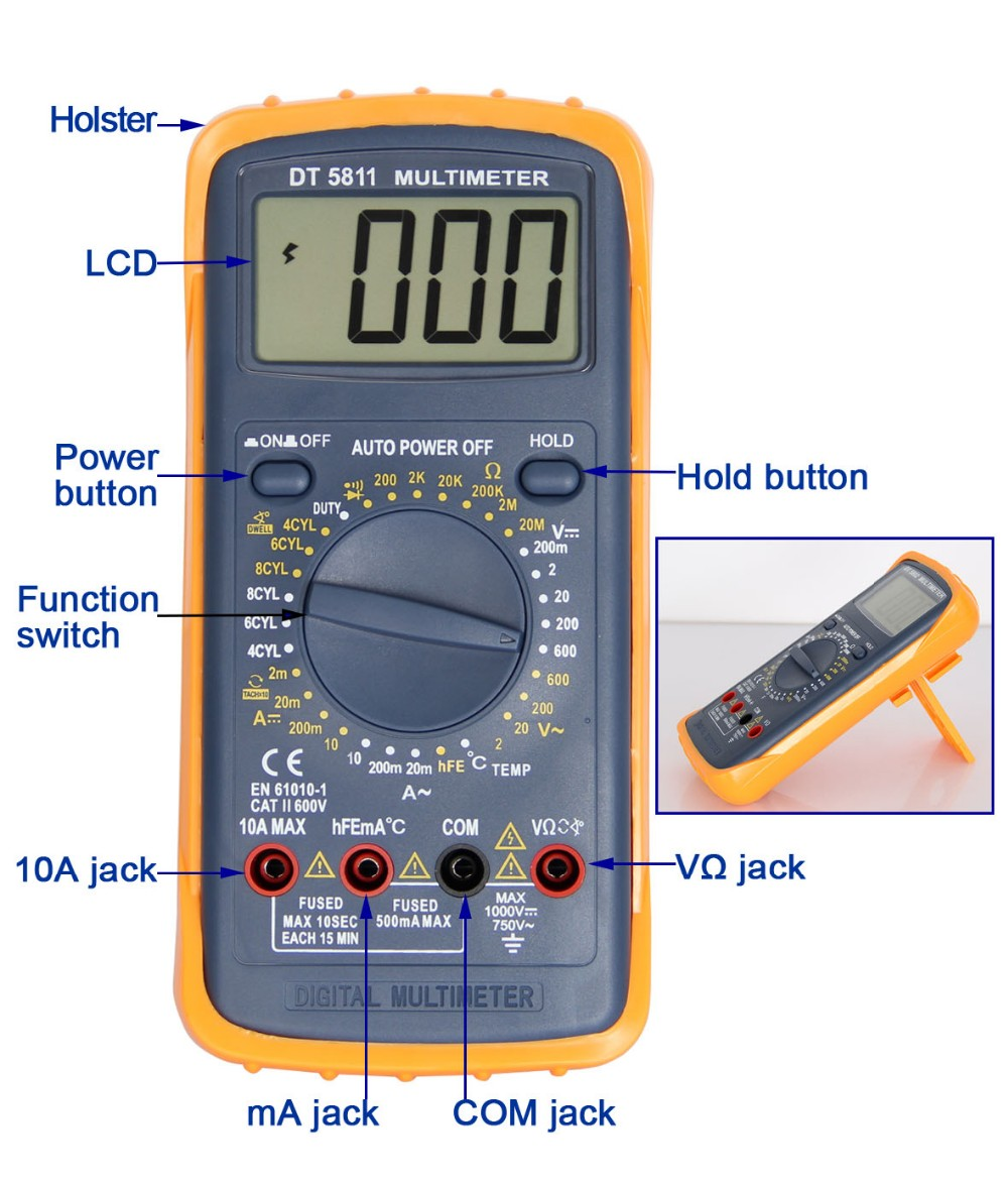 Automotive Multimeter DT5811 with Buzzer Temperature with Duty Cycle with Dwell Angle with Tach with Data Hold Auto Power Off
