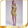 2014 gold beaded crystal cocktail dress bandage most popular