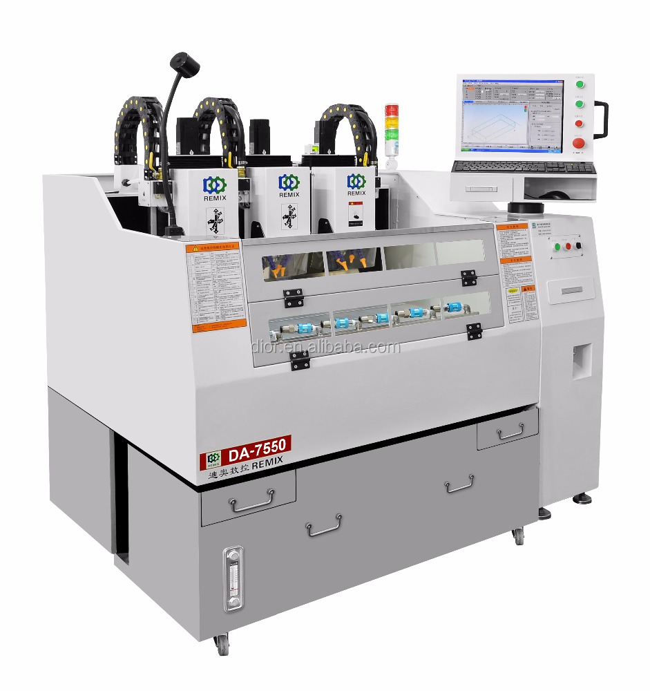 Factory DA-750T Cheap 5 axis mobile glass protector high efficiency three-Head CNC engraving Machine