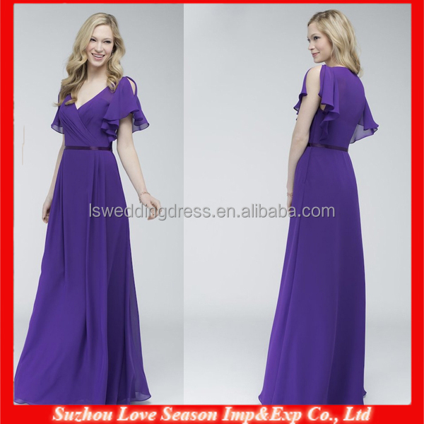 HB0087 OEM Wholesale patterns Halter V-neck short sleeve floor length elegant chiffon purple western bridesmaid dress