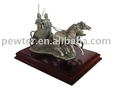 Pewter Warrior With Horse Sculpture
