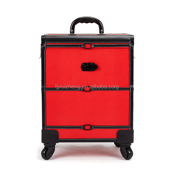 Multi Color Leather Rolling Mirrored Cosmetic Train Case With Trays