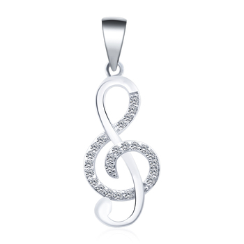 POLIVA Simple Fashion Musical Music Note Pendants, 925 Sterling Silver Cubic Zirconia Necklaces Pendant for Women