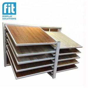 Hot sale best quality metal save space pull and push double sided floor panel ceramic tile display rack