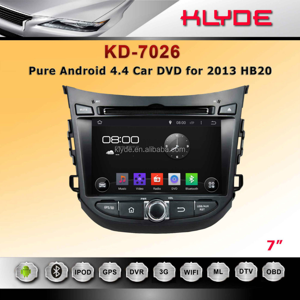 klyde android 4.4.2 2 din DVD stereo radio audio multimedia for HB20+ GPS +wifi +3g+ bluetooth +DVB-T +IPOD/IPHONE