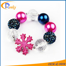 Lovely photography props children beaded chunky bracelets with snow charms