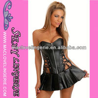 ML4047 Latex Rubber Zipper Front Thong Leather Corset Corselet