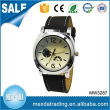 Fashion mens big dial design pu strap water resistant custom watch hands