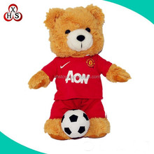 2015 OEM plush toys animal name teddy bear with football